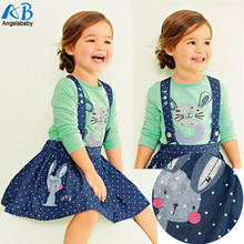 2016 Spring clothes set t shirt blouse + suspender skirt 2pcs new fashion children overalls girl baby girl clothing sets suit