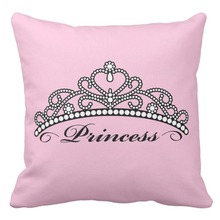 Princess Tiara Pillow Cases,Crown Canvas Decorative Cushion Cover ,Pink Sofa Throw Pillow Covers,Home Decor Child Christmas Gift