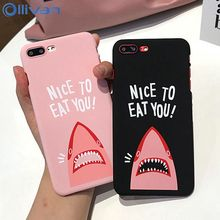 OLLIVAN Couple Case For iPhone 7 8 6 6SPlus Cover Hard PC Funny Cartoon Shark Letter Case For iPhone 6 s 6s Shell Fundas Capa(China)