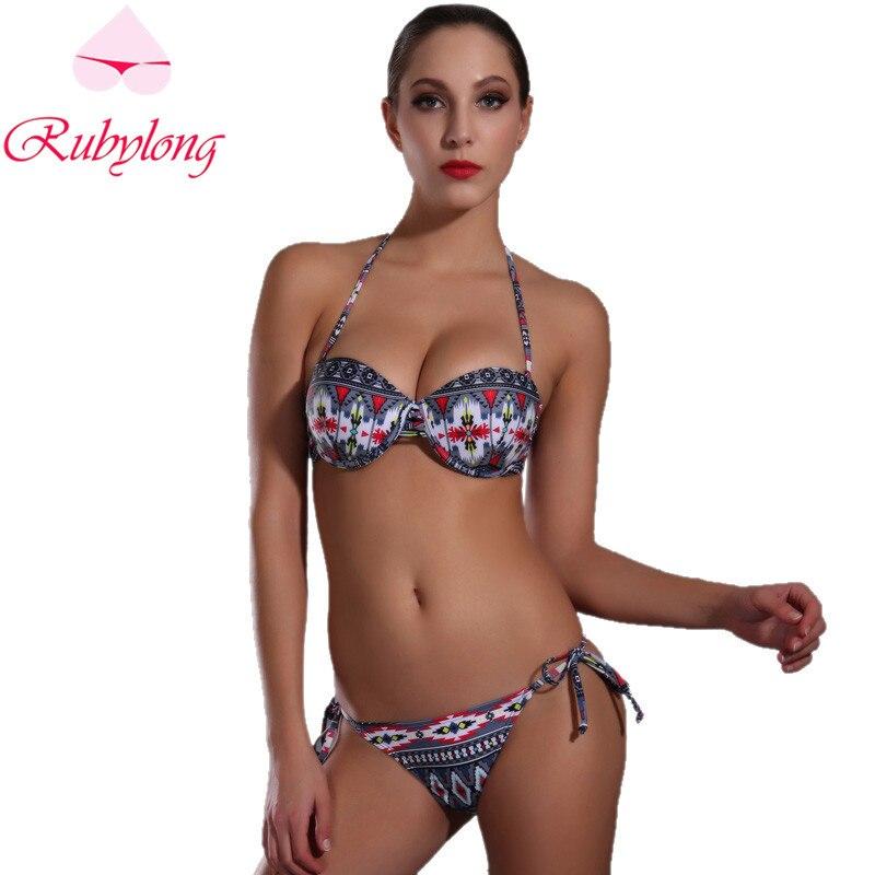 Rubylong 2017 Sexy  Underwire Bikini Swimwear Women Lady Halter Push Up Padded Swimsuit Bikini Set Beachwear Bathing Suit<br><br>Aliexpress