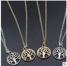 xl702 2017 A handmade personalized rhodium tree of life carved tree medallion pendant necklace 1pcs