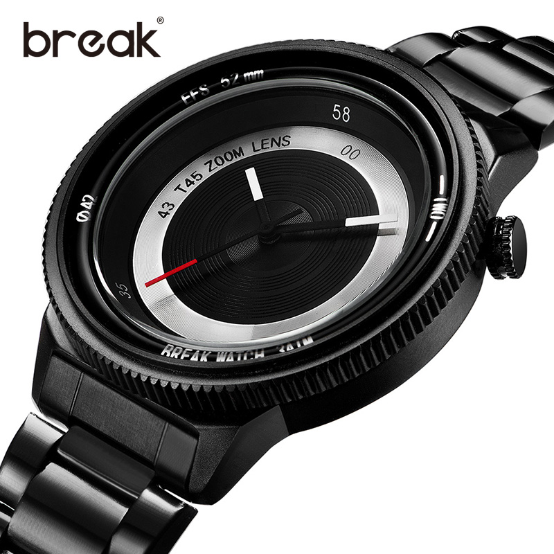 BREAK Brand Novetely Men Watches Creative Dial Quartz Movement Man Watch Fashion Casual 3ATM Waterproof Wristwatches For Men<br>