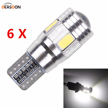 6pcs 5630 SMD 3w T10 W5W LED Car Interior Wedge Side Park Tail Light Bulb with Canbus White Bright Lens