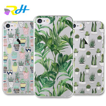 Ultrathin Crystal Clear Plastic hard PC Case Cover for iPhone 5 5s SE 6 6s 7 Plus Banana leaves and cactus Groot Cover Coque