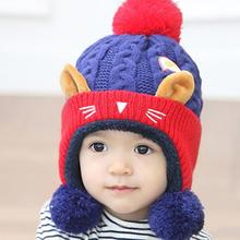 Cute Baby Toddler Infant Kids Girl Boy Cat Pattern Velvet Wool Cap Winter Warm Crochet Knit Hat Beanie Cap(China)