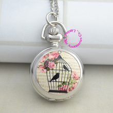 wholesale buyer price good quality silver fashion new enamel  bird cage birdcage pocket watch necklace antibrittle hour clock