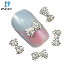Blueness 10Pcs 3D Nail Art Decorations Accessories Nail Tools Glitter Rhinestone Stickers Bow Design Nail Polish DIY Studs TN596(China)