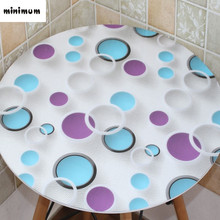 2017 new Geometric patterns PVC Round tablecloth 3D table mats coffee table waterproof PVC Korean table cover free shipping