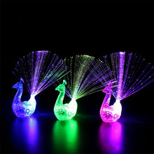 Creative LED Peacock Finger Lamp Cartoon Colorful Light Toy Children Gifts(China)