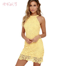 Buy Women Elegant Summer Dress 2019 Vestidos Party Sexy Night Club Halter Neck Sleeveless Sheath Bodycon Lace Dress Short Robe Femme