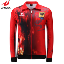 Hot sale design zhouka full sublimation men's soccer training sports customized jackets suit(China)