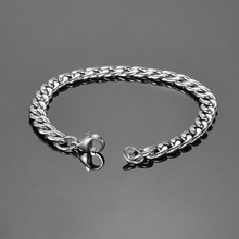 FUNIQUE Simple Stainless Steel Chain Bracelet for Men Braclets & Bangles 20cm Male Female Hip Hop Party Punk Rock Jewelry(China)