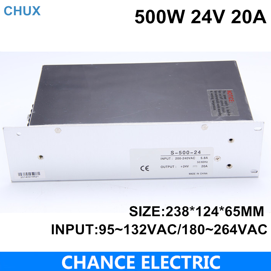High power switching power supply 500W 24V 20A switching power supply AC to DC for LED strip light(S-500-24)<br>