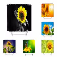 Custom Flower Yellow Sunflowers Bath Curtain Bathroom Mildewproof Waterproof Polyester Shower Curtain180417 04