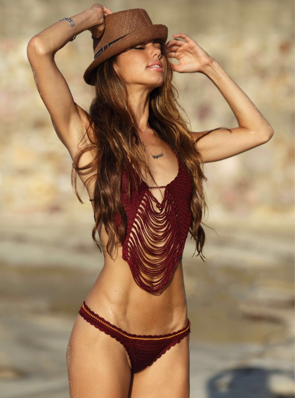 2016 Hand-woven hollow fringed beach split bikini swimsuit burgundy cotton crochet sexy suits, halter, tight solid,,<br>