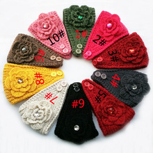2015 New Flower rhinestone Women Headband Knit Crochet Headwrap Winter Ear Warmer for Girl Teens Women size 50cm*16cm 10 pcs/lot
