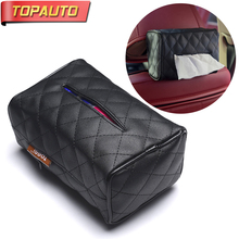 Buy TopAuto 3 Colors Car Tissue Box Cover Car Seat Hanging Sun Visor Leather PU Paper Napkin Holder Car Styling Interior Accessories for $11.68 in AliExpress store