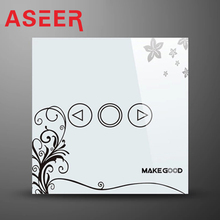 ASEER EU Standard Switch,Hi-MKED01WF Smart Switch,White with Flower Crystal Glass Panel, AC110~240V & Dimmer Wall Light Switch