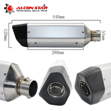 Alconstar- Universal Modify Motorcycle Exhaust Scooter Exhaust Muffler GY6 Dirt bike exhaust CBR250 R1 R6 FZ6 TMAX530 XMAX Z800(China)