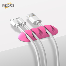 KISSCASE 5 Ports Cable Organizer Holder Cable Winder Clip Management For USB Cable MP3 MP4 Candy Color Charger Data Line Cables