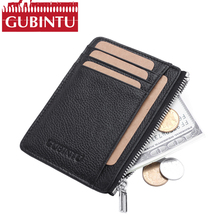 Buy GUBINTU Genuine Leather Men Card Holder Wallet Mens RFID Credit Card Holders Organizer Mini Men Wallets Zipper Pocket Perse for $7.79 in AliExpress store