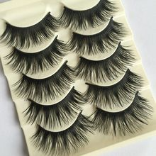 5Pairs New Makeup Beauty Natural Long Black Fake Eye Lashes Handmade Thick False Eyelashes(China)