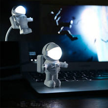 Super Cool Space Astronaut Usb LED Nightlight White Charming Cartoon Creative Portable Mini Lamp For Laptop