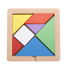 Non-toxic Wooden Baby Kids Tangram Board Kids Child Jigsaw Puzzle Developmental Educational Toy Gift 13.7*13.7*1.3cm Large Size