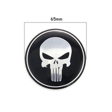New 1pc 65MM Punisher Symbol Tyre Wheel Center Steering Wheel Hub Cap Car Styling Car Emblem Sticker For Dodge Honda #3824