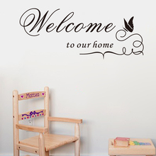 ebay hot selling Welcome our home Lettering vinyl wall Sticker Decal decorative quotes home decor Welcome to our home ZYVA-8181(China)