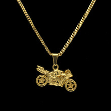 Hip Hop Golden Motorcycle pendants Chains Men Women Iced Out bling Crafts Jewelry Gifts Motor Racing team necklaces Chokers(China)