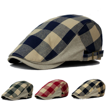 DT589 New Sale Unisex Men Women Checked Duckbill Ivy Cap Casual Driving Flat Cabbie Newsboy Beret Hat Plaid Casquette Beret Cap(China)