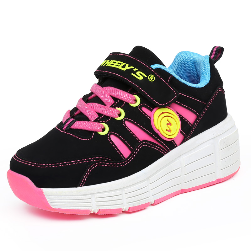 2017 New Fashion with wheels Children Roller Shoes Child Outdoor Breathable Casual Sport Shoes Kids Sneakers Girls Roller Skates<br><br>Aliexpress