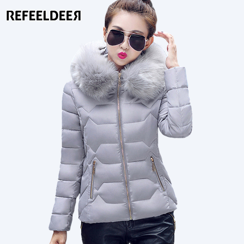 Refeeldeer Winter Parka Women 2017 Thick Warm Hooded Womens Winter Jacket And Coat Female Outwear Lady Pink Black Gray BlueÎäåæäà è àêñåññóàðû<br><br>