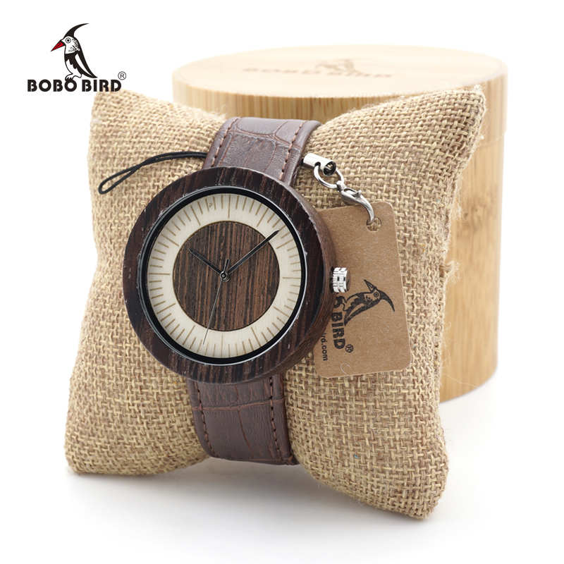 BOBO BIRD Men High Quality Quartz Wrist Mens Natural Wood Watches Simple Casual Design Watches in Gift Bamboo Box custom logo<br>