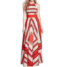 Buy Women Dress Bohemian Sexy Sleeveless Party Club Beach Printing Chiffon Halter Bandage Vest Long Dress 2018 Freeship F#M30