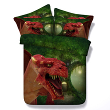 red dinosaur print 3d duvet cover 3/4 pc boys bedclothes twin full king queen sizes forest bedding sets teens adult bed spreads