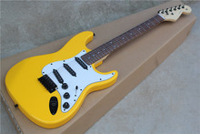Hot Wholesale Custom Body 3S Pickups STrat Yellow Electric Guitar with white Pickguard,black Hardwares,Offer Customized-17-11