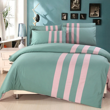 Two - color Patchwork Blue/Pink/Purple/Orange/Brown/Turquoise Bedding Set Queen Size 100% Cotton Bedsheet Pillowcase Quilt Cover