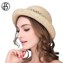 FS Summer Fashion Raffia Straw Hats For Women Vintage Foldable Wide Brim Visor Travel Blue Natural Brown Black Sun Beach Hat(China)