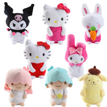 18cm Cute Sanrio Gemini Hello Kitty Melody Pudding Dog Plush Toys Cartoon Rabbit Dog Cat Doll Baby Kids Toy Girls Children Gifts