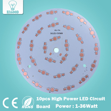 free shipping 10pcs 1W 3W 5W 7W 9W 12W 15W 18W 21W 24W 30W 36W LED Aluminum Plate/ High Power LED Circuit Board / Heat Plate PCB(China)