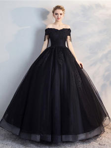 Ball-Gown Quinceanera-Dresses Off-The-Shoulder Short-Sleeve Party Mrs Win Appliques Classic