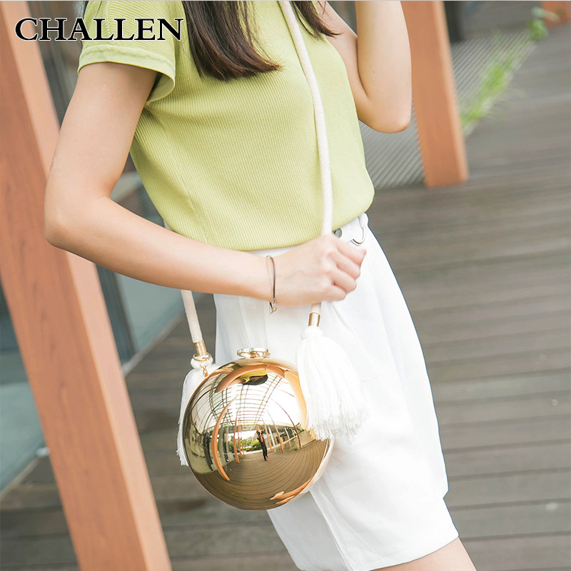 Pearl Ball chain small bag Shoulder Messenger acrylic evening bags ladies tassel metal strap hemp rope bag<br>