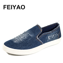 New 2017 Summer Men Shoes Breathable Slip-on  Cut-out Denim Casual Canvas Shoes Flat Heels Size 39-44