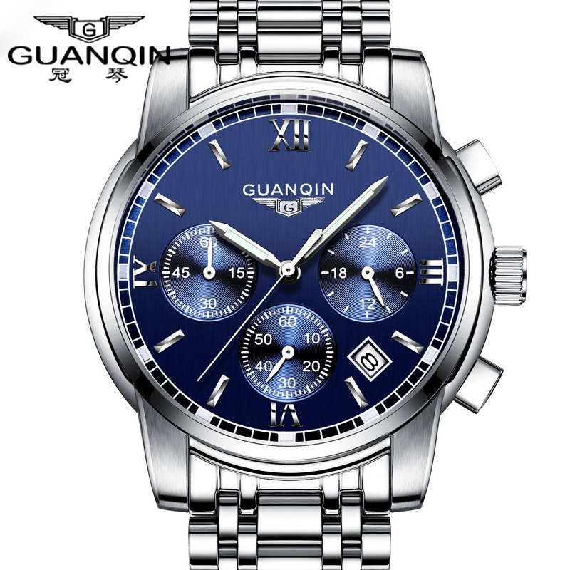 Fashion Watch men Luxury top brand GUANQIN steel men watch  luminous waterproof Wristwatch multifunction Men Clock quartz watch<br>