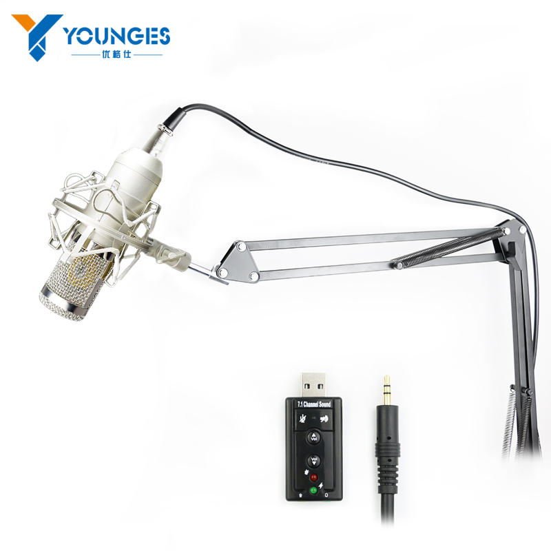 Upgraded Professional PC/KTV Microphone BM800+ Condenser Microphone Professional Audio Studio Recording Microphone Metal Tripod<br>