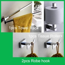 Copper Chrome Bathroom Accessories Set Include Towel Bars Tissue Roller +2pcs Robe Hooks