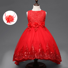 Red White Pink Purple Fancy Evening Gowns Children Beauty Pageant Dresses Ball Gown Flower Girl Dress for Girls 10 To 12 Years
