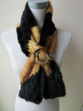 wholesale/sell retail   Free shipping /real mink knitted fur scarf/ yellow with black